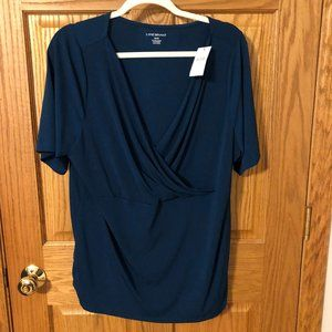 DARK TEAL, NWT, 18/20 CROSS FRONT BLOUSE